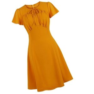 Dresses & Skirts - Short Sleeve Front Bow Plus Size Pin Up Dress